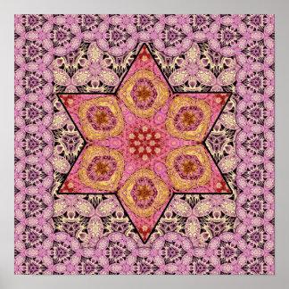 Estrela de Siphonophorae - poster cor-de-rosa