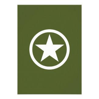 Estrela do exército convites personalizado