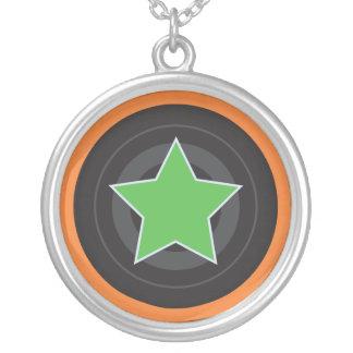 Estrela do jammer de Derby do rolo Colar Banhado A Prata