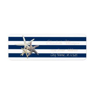 Estrela do mar adorável, etiqueta de endereço do