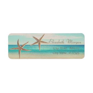 Estrela do mar adorável, praia, etiqueta de