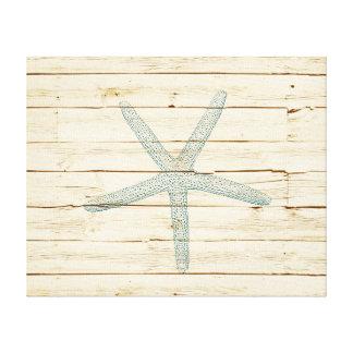 Estrela do mar azul impressão de canvas esticadas