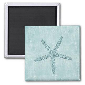 Estrela do mar azul ímã quadrado