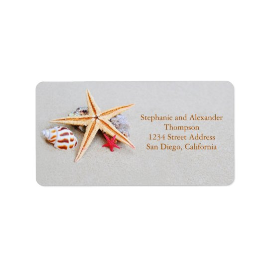 Estrela do mar do tema da praia e etiqueta de etiqueta de endereço