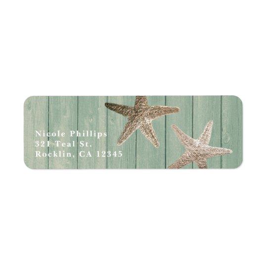 Estrela do mar dourada & convite elegante de etiqueta endereço de retorno