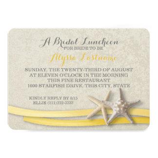 Estrela do mar e almoço nupcial da fita amarela convite 11.30 x 15.87cm