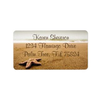 Estrela do mar em etiquetas de endereço do Sandy
