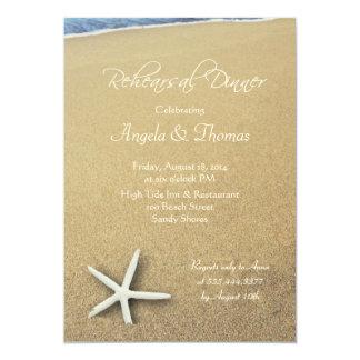 Estrela do mar na areia, convite do jantar de
