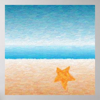Estrela do mar sobre a areia pôster