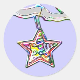 Estrela do Natal no ramo gelado Adesivo Redondo