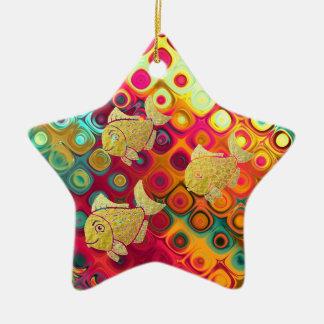 Estrela do ornamento da vida dos peixes do ouro