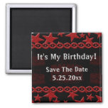 Estrela do rock do bolo de aniversário no vermelho ima