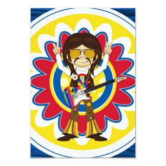 Estrela do rock do Hippie com guitarra Convite 8.89 X 12.7cm
