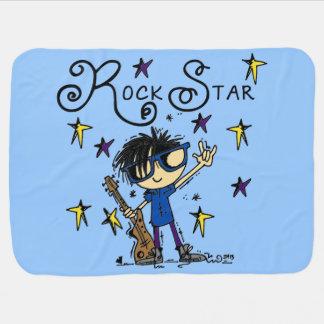 Estrela do rock do menino do cabelo preto cobertorzinhos para bebe