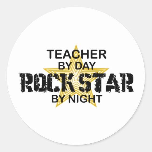 Estrela do rock do professor em a noite adesivos redondos