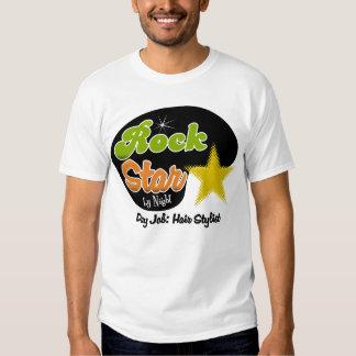 Estrela do rock em a noite - cabeleireiro do camiseta