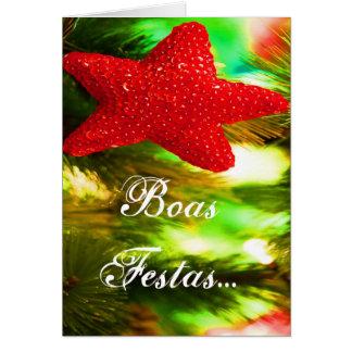 Estrela do vermelho de Ano Novo do feliz de Festas Cartão Comemorativo