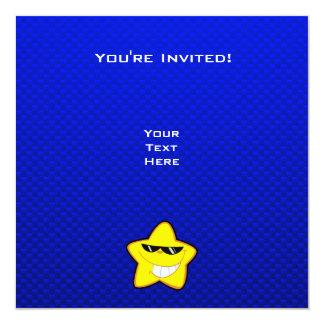 Estrela dos desenhos animados; Azul Convite Quadrado 13.35 X 13.35cm