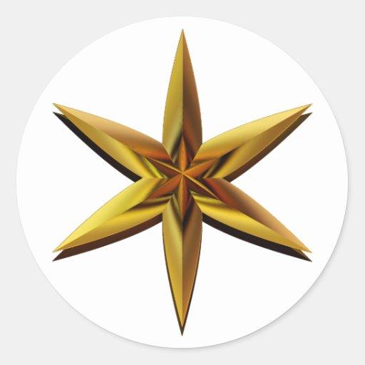 Aparador De Pelos Feminino Intimo ~ Estrela dourada adesivo em formato redondo Zazzle