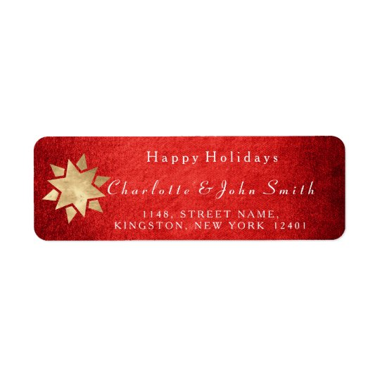 Estrela dourada vermelha do Feliz Natal Etiqueta Endereço De Retorno