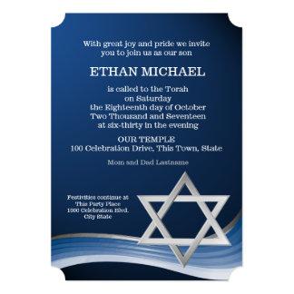 Estrela e bar azul Mitzvah da onda Convite 12.7 X 17.78cm