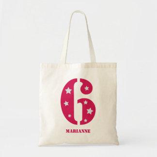 Estrela mundial cor-de-rosa saco de 6 aniversários bolsa tote