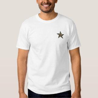 Estrela preta & bege da camisa náutica da estrela t-shirt