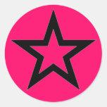 Estrela preta no rosa - etiqueta adesivos redondos