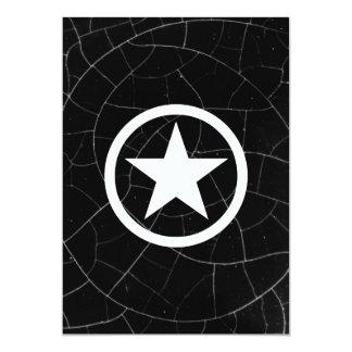 Estrela preto e branco do exército convite 12.7 x 17.78cm