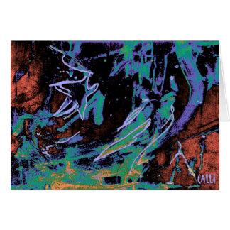 Estrela que olha o cartão de nota colorido da arte