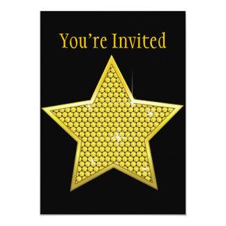 Estrela Sparkling do ouro Convite 12.7 X 17.78cm