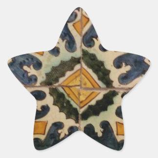 Estrela turca do amarelo do azulejo do vintage do adesito estrela
