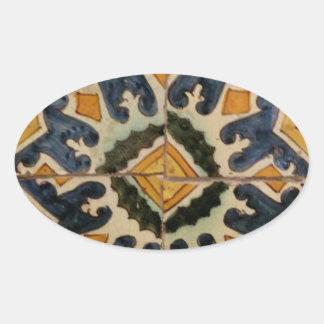 Estrela turca do amarelo do azulejo do vintage do adesivo oval