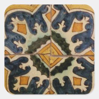 Estrela turca do amarelo do azulejo do vintage do adesivo quadrado