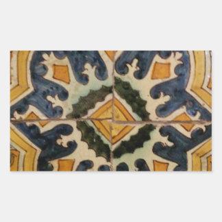Estrela turca do amarelo do azulejo do vintage do adesivo retangular