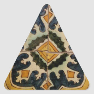 Estrela turca do amarelo do azulejo do vintage do adesivo triangular