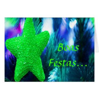 Estrela verde de Ano Novo do feliz de Festas e das Cartão Comemorativo