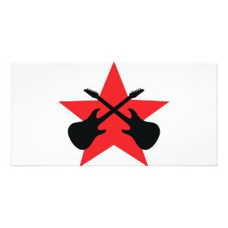 Estrela vermelha guitarra cruzadas cartão com foto