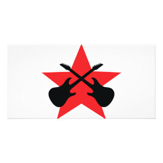 Estrela vermelha guitarra cruzadas cartão com foto personalizado