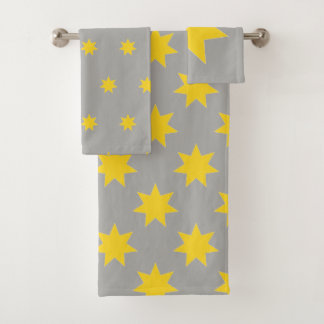 Estrelas amarelas em cinzas, toalhas bonitas