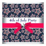 Estrelas azuis brancas vermelhas 4ns do partido do convite personalizados
