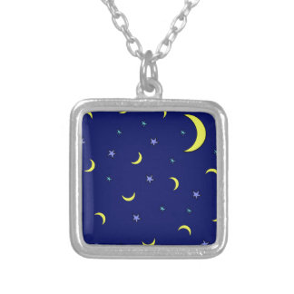 Estrelas azuis da noite da lua amarela colares