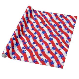 Estrelas azuis patrióticas onduladas sobre listras papel de presente