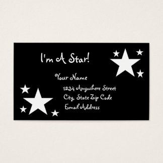 Estrelas brancas no preto - eu sou uma estrela! cartão de visitas