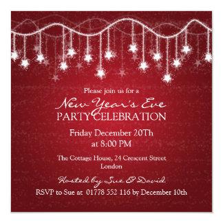Estrelas cintilantes da véspera de ano novo convites personalizados