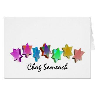 Estrelas coloridas de Chag Sameach 3D Cartão