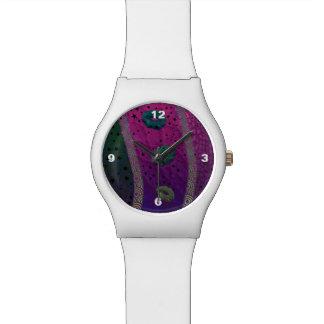 Estrelas cor-de-rosa fluorescentes dos lábios de relógios de pulso
