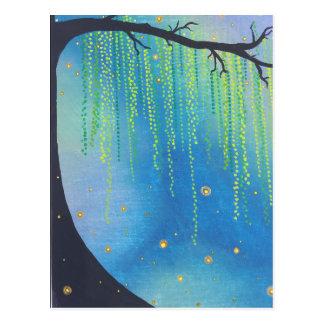 Estrelas da noite do cartão & insetos de relâmpago