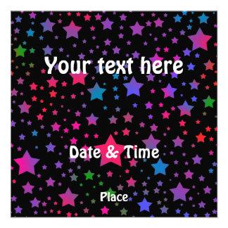 Estrelas de néon convite personalizado