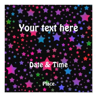 Estrelas de néon convite quadrado 13.35 x 13.35cm